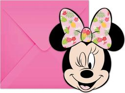 Procos2 Zaproszenia urodzinowe Tropikalna Myszka Minnie - 6 szt. uniwersalny