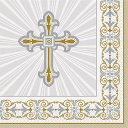 UNIQUE Serwetki komunijne złote z krzyżem - 33 cm - 16 szt uniwersalny