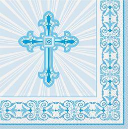 UNIQUE Serwetki komunijne niebieskie z krzyżem - 33 cm - 16 szt uniwersalny