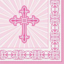 UNIQUE Serwetki komunijne różowe z krzyżem - 33 cm - 16 szt uniwersalny