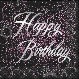 UNIQUE Serwetki błyszczące Happy Birthday różowe - 33 cm - 16 szt. uniwersalny