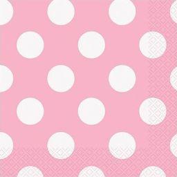 UNIQUE Serwetki urodzinowe jasnoróżowe w białe kropki - 25 cm - 16 szt. uniwersalny