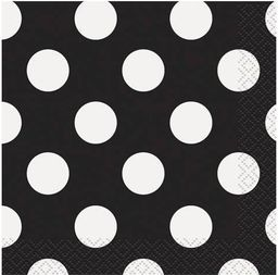 UNIQUE Serwetki urodzinowe czarne w białe kropki - 33 cm - 16 szt. uniwersalny