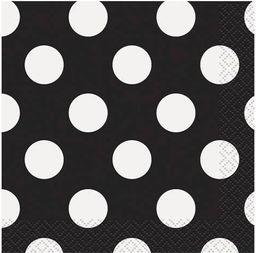 UNIQUE Serwetki urodzinowe czarne w białe kropki - 25 cm - 16 szt. uniwersalny
