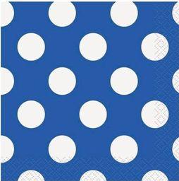 UNIQUE Serwetki urodzinowe niebieskie w białe kropki - 25 cm - 16 szt. uniwersalny