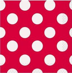 UNIQUE Serwetki urodzinowe czerwone w białe kropki - 25 cm - 16 szt. uniwersalny