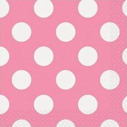UNIQUE Serwetki urodzinowe różowe w białe kropki - 25 cm - 16 szt. uniwersalny