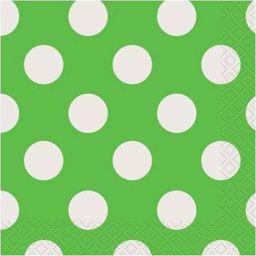 UNIQUE Serwetki urodzinowe zielone w białe kropki - 25 cm - 16 szt. uniwersalny
