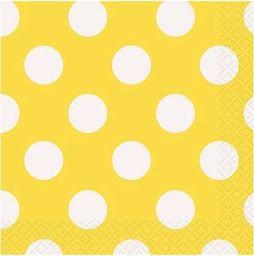 UNIQUE Serwetki urodzinowe żółte w białe kropki - 25 cm - 16 szt. uniwersalny