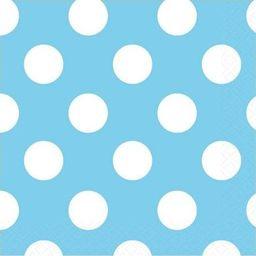 UNIQUE Serwetki urodzinowe błękitne w białe kropki - 25 cm - 16 szt. uniwersalny