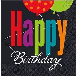 UNIQUE Serwetki urodzinowe Birthday Cheers - 33 cm - 16 szt. uniwersalny