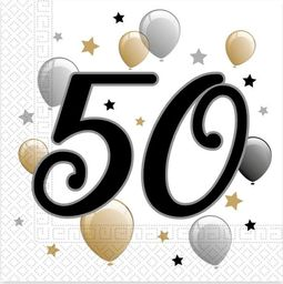 PROCOS Serwetki na pięćdziesiąte urodziny - 33cm - 20 szt. uniwersalny