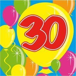 Folat Serwetki na trzydzieste urodziny - 25 cm - 20 szt. uniwersalny
