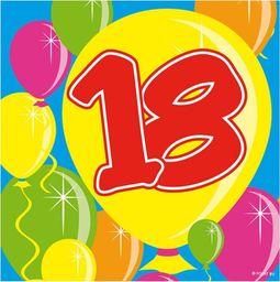 Folat Serwetki na osiemnaste urodziny - 25 cm - 20 szt. uniwersalny