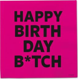 Folat Serwetki urodzinowe różowe Happy Birthday B*tch - 33 cm - 20 szt. uniwersalny