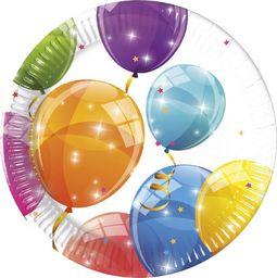 PROCOS Talerzyki urodzinowe Błyszczące Baloniki - 20 cm - 8 szt. uniwersalny