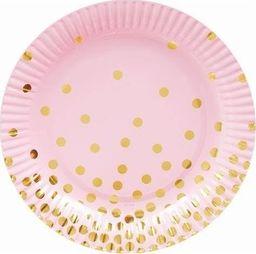 GoDan Talerzyki papierowe różowe w złote groszki - 18 cm - 6 szt. uniwersalny