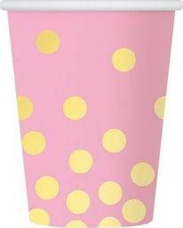GoDan Kubeczki papierowe różowe w złote grochy - 270 ml - 6 szt. uniwersalny