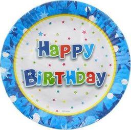 GoDan Talerzyki papierowe Happy Birthday Niebieskie - 18 cm - 6 szt. uniwersalny