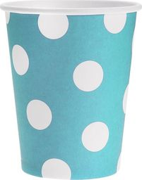 GoDan Kubeczki papierowe Grochy błękitne - 270 ml - 6 szt. uniwersalny