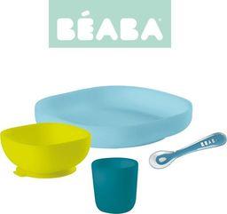 Beaba Komplet naczyń z silikonu z przyssawką blue