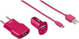 Zestaw ładowarek Hama Pico + Micro USB Fashion Różowy (1020070000)