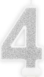 Party Deco Świeczka cyferka z brokatem - 4 - 1 szt. uniwersalny