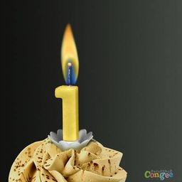 """Sens Świeczka cyferka jedynka """"1"""" z żółtym płomieniem - 1 szt. uniwersalny"""