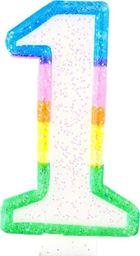 TG Świeczka cyferka z brokatem - 1 - 7 cm uniwersalny
