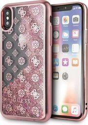Guess Guess GUHCPXPEOLGPI iPhone X/Xs różowy /pink hard case 4G Peony Liquid Glitter uniwersalny