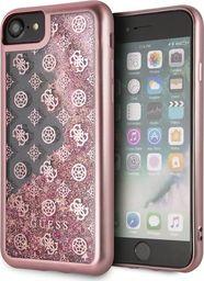 Guess Guess GUHCI8PEOLGPI iPhone 7/8 różowy /pink hard case 4G Peony Liquid Glitter uniwersalny