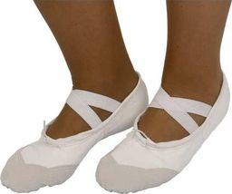 """Baletki bawełniano-skórzane białe """"S"""" 24"""