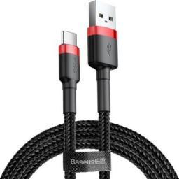 Kabel USB Baseus Cafule Cable wytrzymały nylonowy kabel przewód USB / USB-C QC3.0 2A 3M czarno-czerwony (CATKLF-U91) uniwersalny