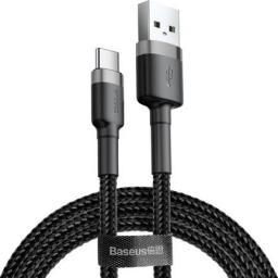 Kabel USB Baseus Cafule Cable wytrzymały nylonowy kabel przewód USB / USB-C QC3.0 2A 3M czarno-szary (CATKLF-UG1) uniwersalny