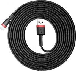 Kabel USB Baseus Cafule Cable wytrzymały nylonowy kabel przewód USB / Lightning QC3.0 2A 3M czarno-czerwony (CALKLF-R91) uniwersalny