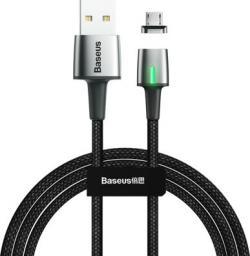 Kabel USB Baseus Zinc magnetyczny kabel USB / micro USB 1m 2.4A czarny (CAMXC-A01)