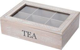Excellent Housewares Pojemnik organizer pudełko na herbatę drewniany uniwersalny