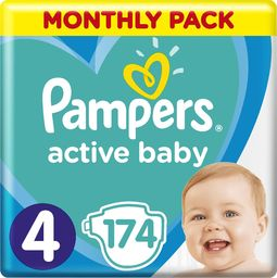 Pampers Pieluchy Active Baby 4 (9-14kg)  174 szt. Monthly Box