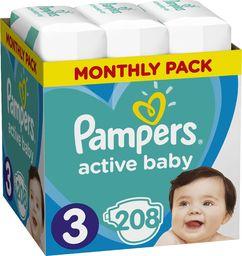 Pampers Pieluchy Active Baby rozmiar 3 Midi (6-10kg) 208 szt.