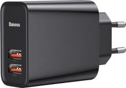 Ładowarka Baseus Szybka ładowarka sieciowa Baseus 2x USB QC 3.0 30W  (CCFS-E01) (BS-EU906) (czarna)