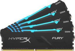 Pamięć HyperX Fury RGB, DDR4, 64 GB, 2666MHz, CL16 (HX426C16FB3AK4/64)