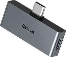 Adapter USB Baseus Baseus L57 Adapter Do Słuchawek Przejściówka Z Usb Typ C Na Usb Typ C + 3.5mm Mini Jack Szary (catl57-0a)