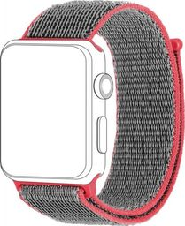 Topp TOPP pasek do Apple Watch 38/40 mm nylon siatka, szaro czerwony