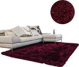 Dywan gruby gęsty miękki pluszowy - Living Room Shaggy 80x150 - Wine Red uniwersalny