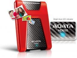 Dysk zewnętrzny ADATA HDD HD650 1 TB Czerwony (AHD650-1TU3-CRD)