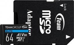 Karta Team Group Elite MicroSDXC 128 GB Class 10 UHS-I/U3 A1 V30 (TEAUSDX128GIV30A103)