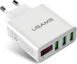 Ładowarka Usams 3xUSB 3A LED biały US-CC035 -CC35TC04