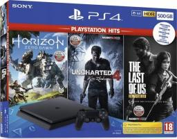 Sony Playstation 4 Slim 500GB + Horizon Zero Dawn + Uncharted 4 Kres Złodzieja + The Last of Us Remastered