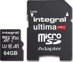 Karta Integral MicroSDXC 64GB , R:100MB/s W:70MB/s U3 V30 + ADAPTER