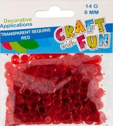 Craft with Fun CF CEKINY TRANSPARENT GUZIK 8MM CZERWONY 40/400
